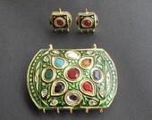 Beautiful meenakari pendant with navratan and matching earrings set in green base