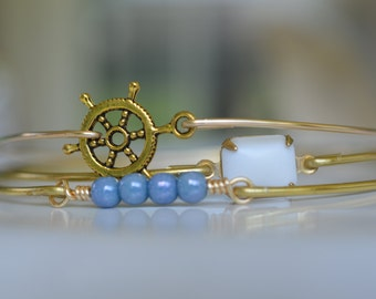 Nautical Bangle Bracelet Set Gold Bangles- Anchor Bracelet- Pearl Bangle- Blue Bangle- Nautical Set- Bridesmaids Gifts- Bangle Bracelet Sets