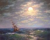 "48 - ""Moonlit Night over the Sea"",  5""x 7"" original canvas giclee print"