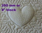 EMBROIDERY PATTERN 200 mm in-the-hoop quilt block - trapunto heart for 200 mm hoop