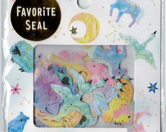 Japan Paper Sticker Flake Assort: 2015 Favorite Seal Series Whimsical Constellation Animals Unicorn Bear Lion Bull Sheep Swan Moon Giraffe R