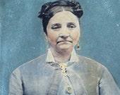 Full Plate Tintype: Huge Image of Woman, Handpainted Details
