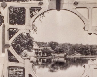 Beautifully Framed Lake View & Birdhouse Vintage Photo