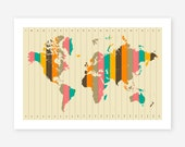 WORLD MAP, Time Zones, Giclee Fine Art Print, Wall Art, Home Decor