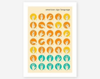 AMERICAN SIGN LANGUAGE Hand Alphabet, Giclee Fine Art Print, by Jazzberry Blue