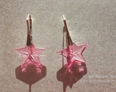 Jem 2000 Fine sterling silver and vintage Swarovski crystal star earrings Jem and the Holograms pink stars