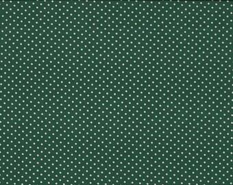 Fat Quarter Spot On Forest Green Polka Dots Cotton Quilting Fabric Makower G9