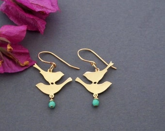 Gold Bird Earrings - Mint Green Earrings