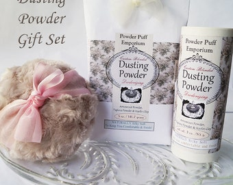 Dusting Powder Gift Set (Puff, Refillable Shaker, Powder Refill, Funnel, and gift box)  IVORY MUMS