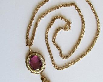 Vintage Avon amethyst tassel pendant necklace