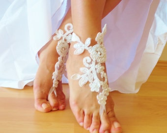Ivory Lace Sandals,Wedding Sandals, Bridesmaid Gift , Bridal Anklet, Beach Wedding Barefoot Sandals.