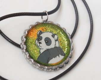 Panda bear pendant - animal charm - jewelry - glitter necklace