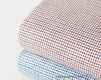 Yarn Dye Cotton Fabric/ Off White With Jacquard Blue Red Cross Cotton Fabric- Country Style 1/2 Yard