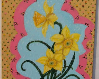 "Original  painting ""Daffodil""  ""16x20"" acrylic on canvas by Julie Miscera   c2015"