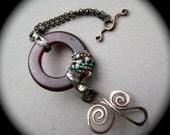 Swirling Waters, Assemblage bracelet, metalwork, beaded bracelet, mixed metal, glass jewelry, ooak handmade bracelet, rustic, AnvilArtifacts