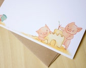 Pigs at the Beach Stationery- 6 Flat Thank You, Any Occasion Note Cards with Envelopes and Stickers (Set)