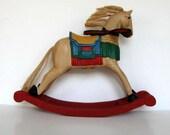 SALE, Large Vintage Wooden Rocking Horse, Primitive Folk Art, Home and Living, Nursery Decor, Kids