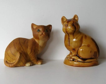 Vintage Pair of ceramic cats, MMA reproduction, Stafforshire cat figurine, Metropolitan Museum gift, treacle glazed, paper weight, gift idea
