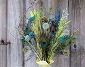 RESERVED FOR KAREN Flower Bouquet Dried Arrangement Peacock Feather Green Teal