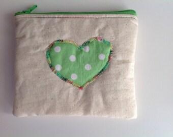 Cute Love Hart small zipper pouch