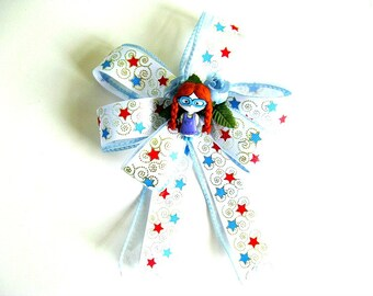 Red haired girl gift bow-Small gift bow-Bow for girls-Birthday party bow-Gift wrapping bow-Bow for presents-Birthday gift bow (FN107)