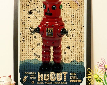 Japanese Robot Red - japan toy - Vintage Japan paper Dictionary Print