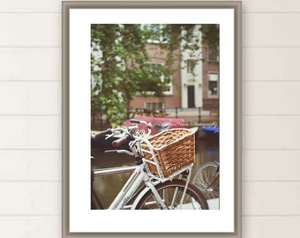 Wicket basket photo, bicycle, amsterdam, canal, romantic, white, architecture, street, whimsical, transport, travel, european, for her