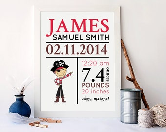 Little pirate birth stat print, Baby Nursery Decor, Birth Announcement Wall Art, Little pirates nursery decor. Birth Details Print, BF-1080