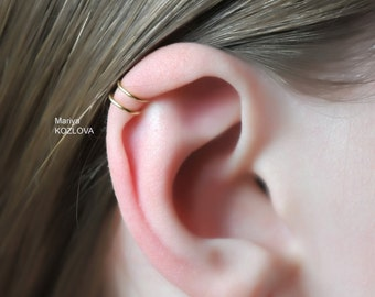 No Piercing Gold The Greatest Double Rings Helix Ear Cuff-Position 3/Ear Nose Two Small Rings/fake faux piercing/ohrklemme/manschette oreja