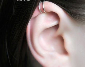 No Piercing Helix Double Rings/comfortable two rings cartilage ear cuff for him/for her/piercing imitation/plain simple minimalist ohr clip