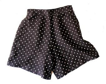 80s french HIGHWAIST SHORTS  polka dots CREEKS  FR38 medium