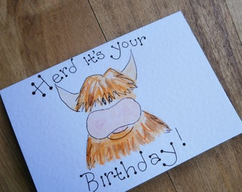 Herd it's your birthday. Highland cow Birthday card