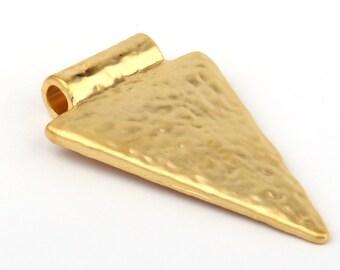 Triangle Textured Bail Pendant, Geometric Pendant, Minimalist Pendant, Matte Gold Plated, 1 piece // GP-348