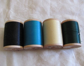4 Belding Corticelli Mid Century Cotton Mercerized Thread Wooden Spools