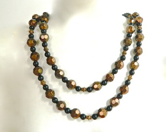 Vintage CHICO'S Necklace Double Strand Black Round Resin and Faceted Bronze Tone Metal Beads High Style 80s Signed Perfect