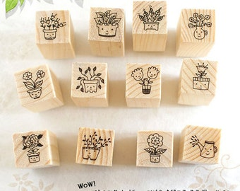 SALE!!!!!!! 1 set 12 pcs Korea DIY wooden rubber stamp -  Flower + Smile