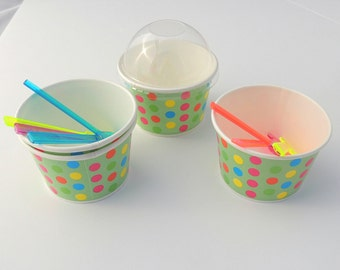15 -8 oz Ice cream cups, Green Cup w_Colored Polka Dots, Party Birthday Candy Cups Tough and Sturdy Cold Cups Hot Cups.