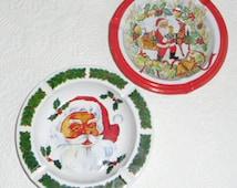 Vintage Christmas Ornaments - 1950s Christmas, 2 Tin Ashtrays, Santa Claus Face, Santa Claus with Reindeer, Wynne Novelty Company