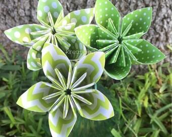 3 Lime Green Paper Flowers with Stems // Origami Flower/Kusudama Flower Bouquet/ Flower Arrangement/ Baby Shower/ Nursery/ Centerpiece