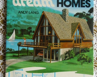 Vintage Book - Vacation Dream Homes Rare, Andy Lang, Hamond 1975, 30+ Mid-Century House Designs, Architects' Office, Builder's Office