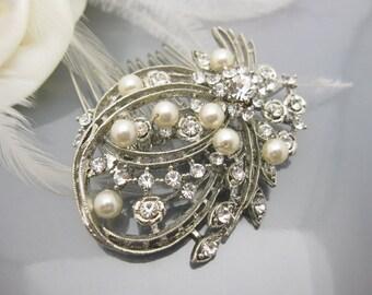 Wedding hair comb pearl,Wedding hair jewelry,Bridal hair comb Rhinestone,Wedding hair jewelry,Bridal accessories,Bridal comb,Wedding comb