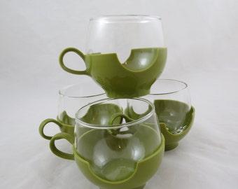 Vintage Pyrex and Plastic Mugs,Retro Pyrex Mugs,Avocado Green,Pyrex Fishbowl Mugs,Glamping,Glamper,Cabin,Coffee Cups,Free Shipping,5ATT15