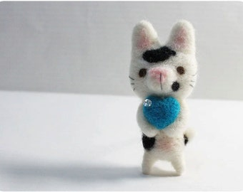 Martin Cat - needle felted wool brooch, crystal bead