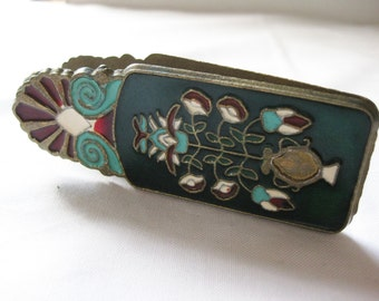 Brass Enamel Jumbo Clip, Birds and Flowers, Green and Red