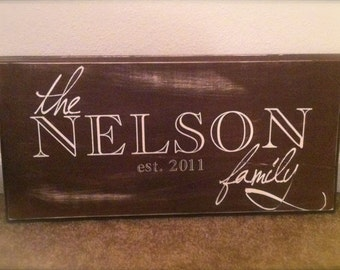 Custom Established Family Sign (24 x 11) available in all colors