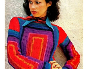 """Vintage 70s Crochet """"PULLOVER"""" Sweater - PDF Pattern - Digital Pattern"""