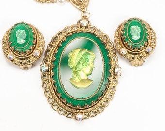 Vintage Emerald Green Cameo AB Rhinestone Pendant Necklace ~ W. Germany HTF