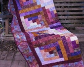 Lap Quilt, Sofa Quilt, Quilted Throw - Handmade Quilt - Log Cabin Cherry Batik Quilt