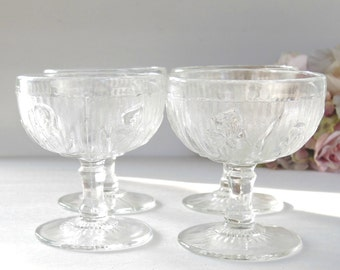 Iris and Herringbone Footed Sherbet Glasses Set of 4, Depression Glass, Jeanette Glass Home Decor, Ice Cream Glasses