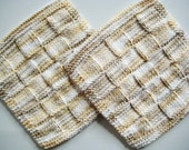 Soft Natural Wash Cloths Dish Cloths  Hand Knit  Nicely Neutral  Cream and Beige